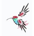 Watercolor blue hummingbird in flight vector image vector image