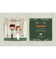 Wedding invitation card cartoon hipster bride and vector image vector image