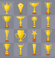 winner trophy gold cups flat icons for vector image vector image