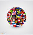 world flags in form sphere vector image