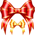 Red and gold gift bow and ribbon vector image