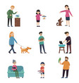 colorful people and pets collection vector image