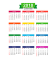 2018 Year calendar isolated on white background