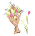 a fresh sprong flower bouquet of vector image