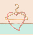 a funky coat hanger and heart vector image vector image