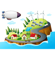 A village with windmills and a spaceship vector image vector image
