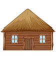 a wooden hut on white background vector image