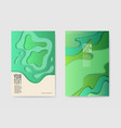 abstract paper cut layered posters fluid shapes vector image