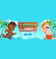 aquapark banner with happy kids on sea beach vector image