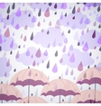 background with umbrellas and a rain vector image vector image