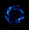 blue shining lightning round frame voice signal vector image vector image