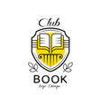 book club logo design heraldic shield with open vector image vector image