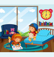 boy and girl drawing picture in bedroom vector image vector image