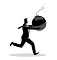 businessman running panic with bomb in his hand vector image vector image