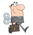 businessman with wind-up key in his back vector image