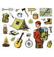 camping equipment set outdoor adventure hiking vector image vector image