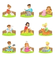 Children Petting The Small Animals In Petting Zoo vector image vector image