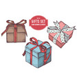 collection hand drawn colored gift boxe vector image