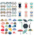Collection icon of summer fashion accessories in