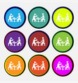 colorful icons and signs in the form of a button vector image