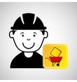 construction worker wheelbarrow sign traffic vector image vector image