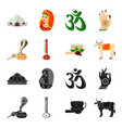 country india blackcartoon icons in set vector image