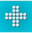 Cross shape with medical pills on blue background vector image vector image