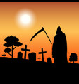 death silhouette standing in graveyard vector image vector image