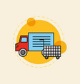 delivery truck market shopping cart vector image vector image
