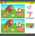 differences game with farm animals vector image vector image