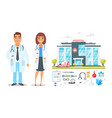 doctor man and woman characters vector image