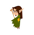 forest elf boy in green clothes with wooden staff vector image
