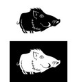funny boar silhouette vector image vector image