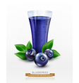 glass cup with juice of blueberries isolated vector image vector image