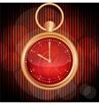 Golden watches on red abstract background vector image vector image