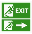 Green exit emergency sign on white vector image