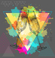 hand drawing of champagne clinking glasses vector image vector image
