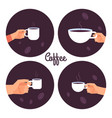 hands holding cups coffee icons set vector image