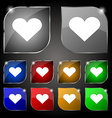 Heart Love icon sign Set of ten colorful buttons vector image vector image
