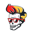 human skull with sunglasses and color hairstyle vector image