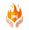 insurance car icon fire design hand vector image vector image