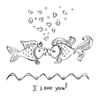 Kiss of two fishes drawing vector image vector image