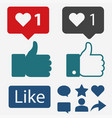 like icon flat hand thumbs up and heart vector image vector image