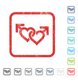 linked gay hearts icon rubber watermark vector image vector image