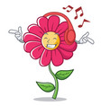 listening music pink flower character cartoon vector image vector image