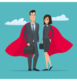 Man and woman business superheroes Cartoon Super vector image vector image