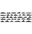 mountains range silhouettes doodle set vector image