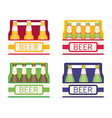 pack of beer bottles flat style icon set vector image vector image