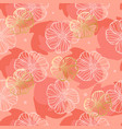 pattern doodle flowers on a coral background vector image vector image