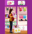 pregnant woman shopping baby stuff vector image